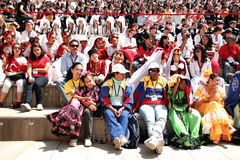 Visitors at the festival. International visitors wait their turn for folk dance in National Sovereignty and Children Day festival at Maltepe University on April Royalty Free Stock Image