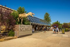 Visitors at the front entrance of the Royal Tyrrell Museum of Palaeontology Royalty Free Stock Image