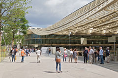 Visitors in front of the forum les halles in paris Stock Photos