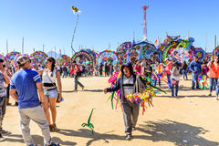 Visitors at Giant kite festival, All Saints' Day, Guatemala Stock Photography