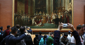 Visitors in the great gallery, The Louvre, Paris, France Stock Photography