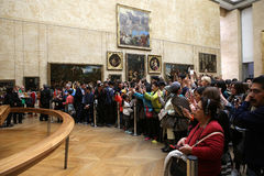 Visitors in the great gallery, The Louvre, Paris, France Stock Photos