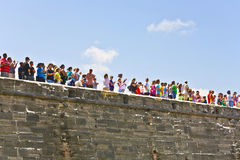 Visitors of the Historic weapon demonstration in Castillo de San Marcos in St. Augustine Royalty Free Stock Photos