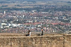 Visitors on Hohlansbourg castle Stock Image