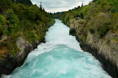 Visitors at Huka Falls, Taupo. New Zealand royalty free stock photo