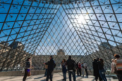Visitors inside the Louvre Museum (Musee du Louvre). Stock Images