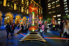 Visitors interact with Robotanic Vivid Sydney Royalty Free Stock Image