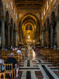 Visitors in interior Duomo di Monreale in Sicily Stock Photos