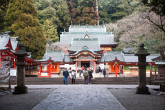 Visitors at a Japanese shinto shrine Royalty Free Stock Images