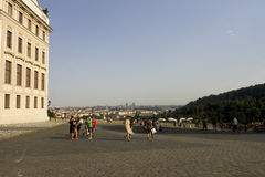 Visitors leaving Prague castle Royalty Free Stock Photography