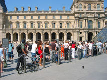 Visitors line up for Louvre Royalty Free Stock Photography
