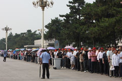 Visitors line up to visit Tiananmen Square Stock Photography