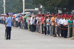 Visitors line up to visit Tiananmen Square Stock Images