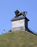 Visitors at Lion's Mound, Waterloo, Belgium. The Butte du Lion (The Lion's Mound) commemorating the Battle at Waterloo, Walloon Brabant, Belgium.  The Lion's Royalty Free Stock Image