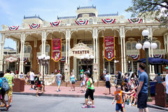 Visitors on Main Street USA at the Magic Kingdom. Stock Images