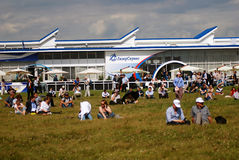 Visitors at MAKS International Aerospace Salon MAKS-2017 Royalty Free Stock Images