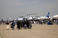 Visitors at MAKS International Aerospace Salon Royalty Free Stock Image