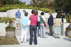 Visitors at the memorial. With Reagan quotation at the Ronald W. Reagan Presidential Library Stock Image
