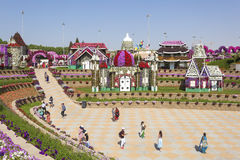 Visitors at the Miracle Garden in Dubai Royalty Free Stock Photography