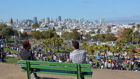 Visitors at  Mission Dolores Park inSan Francisco, CA Royalty Free Stock Photography