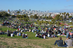 Visitors at  Mission Dolores Park inSan Francisco, CA Stock Photography