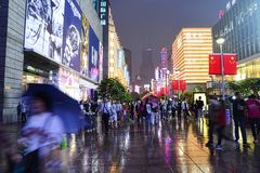 Visitors at Nanjing Road, Shanghai Stock Photography