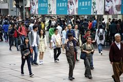 Visitors at Nanjing Road, Shanghai Royalty Free Stock Photography