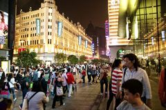 Visitors at Nanjing Road, Shanghai Royalty Free Stock Photos