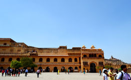 Visitors at old castle of amer, outskirt Jaipur Rajasthan India Royalty Free Stock Images