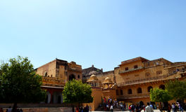 Visitors at old castle of amer, outskirt Jaipur Rajasthan India Stock Image
