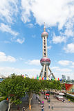 Visitors before the Oriental pearl TV tower,in Shanghai, China. Royalty Free Stock Images