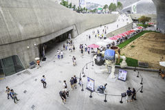 Visitors outside Dongdaemun Design Plaza, Seoul, South Korea Royalty Free Stock Image