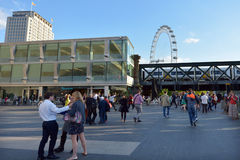 Visitors outside the Southbank Centre, Festival Terrace with Lon Royalty Free Stock Images