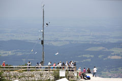 Visitors at a paraglide platform from a mountain top Stock Photography