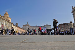 Visitors and pilgrims in the Castle square, Turin. Stock Image