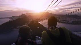 Visitors on platform at Sugar Loaf Mountain. Rio de Janeiro, Brazil Stock Photo