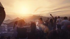 Visitors on platform at Sugar Loaf Mountain. Rio de Janeiro, Brazil Royalty Free Stock Photo