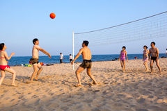 Visitors playing volleyball Stock Photography
