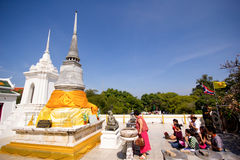 Visitors at Praputthabat temple the famous temple in Saraburi Royalty Free Stock Images