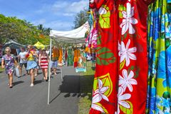 Punanga Nui Market Rarotonga Cook Islands. Visitors at Punanga Nui Market in Avarua town, Cook Islands.It`s one of the highly regarded traditional markets in the Stock Photography
