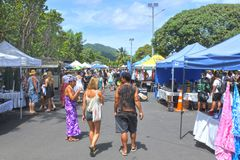 Punanga Nui Market Rarotonga Cook Islands. Visitors at Punanga Nui Market in Avarua town, Cook Islands.It`s one of the highly regarded traditional markets in the Royalty Free Stock Images