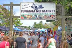Punanga Nui Market Rarotonga Cook Islands. Visitors at Punanga Nui Market in Avarua town, Cook Islands.It`s one of the highly regarded traditional markets in the Stock Image