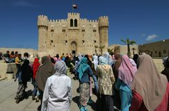 Visitors at Qaitbya Citadel, Alexandria Royalty Free Stock Images