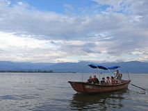 Visitors on Qionghai Lake in Xichang,China stock image