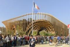 Visitors queue along France pavilion , EXPO 2015 Milan Royalty Free Stock Photo