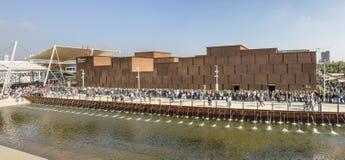 Visitors queue along Morocco pavilion , EXPO 2015 Milan Royalty Free Stock Photography