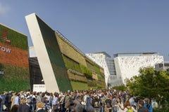 Visitors queue outside Israel pavilion , EXPO 2015 Milan Stock Photos