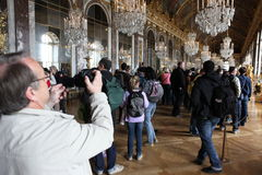 Visitors on queue for Versailles palace April, Royalty Free Stock Photos
