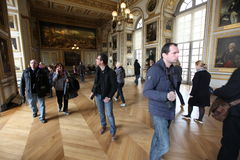 Visitors on queue for Versailles palace April, Royalty Free Stock Image
