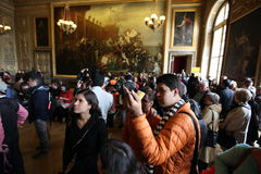 Visitors on queue for Versailles palace April, Royalty Free Stock Images